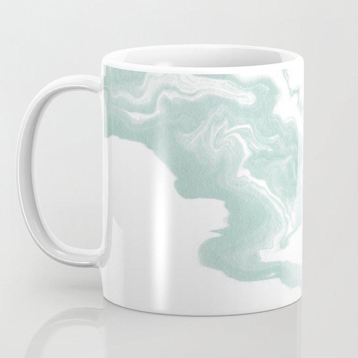Moki - spilled ink japanese printmaking marble paper mint pastel watercolor painting abstract  Coffee Mug