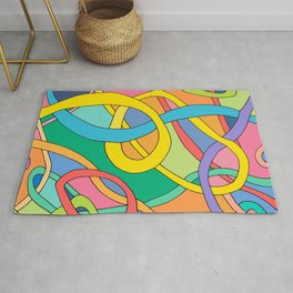 color curved lines Rug