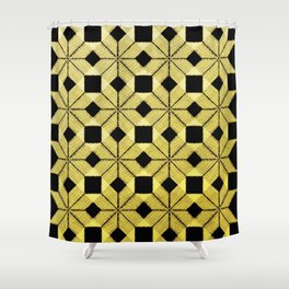 Golden Snow, Snowflakes #02 Shower Curtain