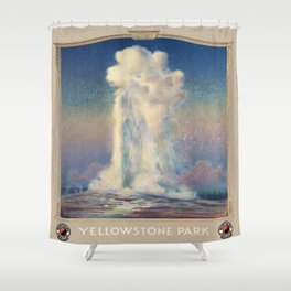 Vintage poster - Yellowstone Park Shower Curtain