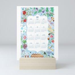 2021 Calendar with Jewish Watercolor and Judaica Holiday Symbols Mini Art Print