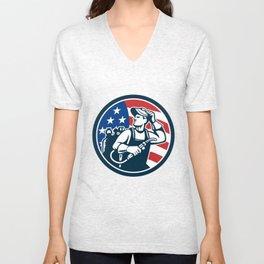 Welder Looking Side USA Flag Circle Retro Unisex V-Neck