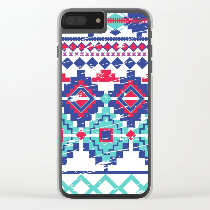 Red&Blue Tiles Clear iPhone Case