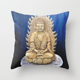 Meditation Buddha Oil Painting Still Life Peaceful Spiritual (Tranquil Space) Throw Pillow