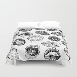 Hand Drawn Luscious Lips in Black and White Duvet Cover