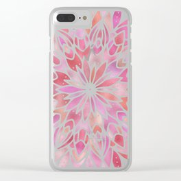Mandala Pink Gold Clear iPhone Case