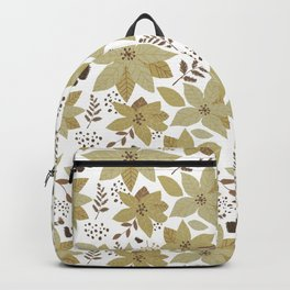 Serene Poinsettia Gold  Backpack