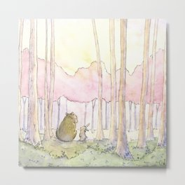 Unlikely Friends (Bunny and Bear in the Woods) Metal Print