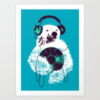 record Art Prints featuring Record Bear by Picomodi