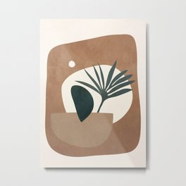 Abstract Plant in a Pot Metal Print