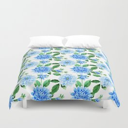 Hand painted sky blue green watercolor modern dahlia floral Duvet Cover