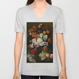 """Philip van Kouwenbergh """"Still life of flowers with roses, peonies, hollyhock, tulips, grapes..."""" Unisex V-Neck"""