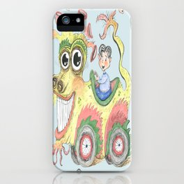 dragon car mobile fantasy w/ little boy, light blue aqua yellow green iPhone Case