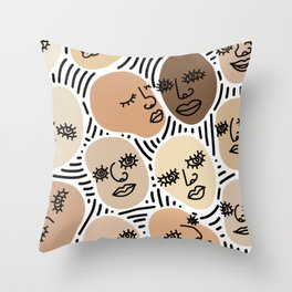 abstract faces mix Throw Pillow