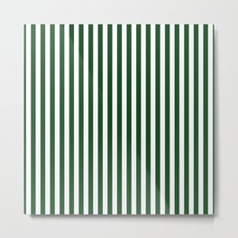 Original Forest Green and White Rustic Vertical Tent Stripes Metal Print