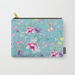 Pastel Teal Vintage Roses and Butterflies Pattern Carry-All Pouch