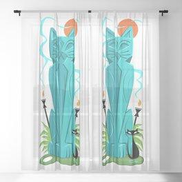 Nani Ele' Ele Anu (Pretty Black Cat) Mid Century Modern Tiki Cat Art Sheer Curtain
