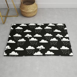 Clouds linocut black and white printmaking pattern black and white Rug