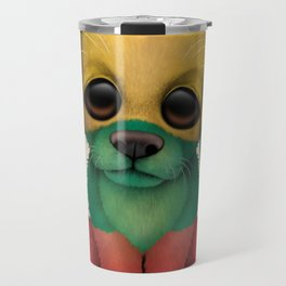 Cute Puppy Dog with flag of Lithuania Travel Mug
