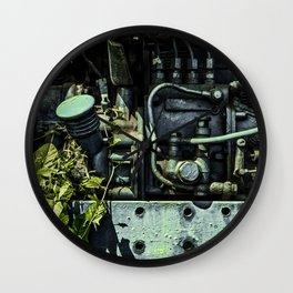 Old Tractor Weed Engine in Blue Wall Clock