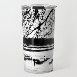 Swans in wintertime in the North of theNetherlands Travel Mug
