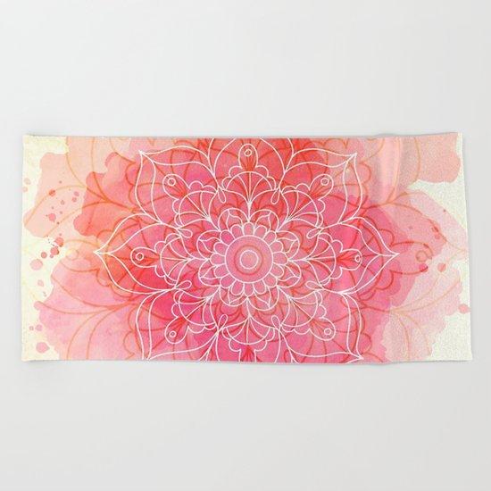 Pink Watercolor Mandala #lifestyle #society6 Beach Towel