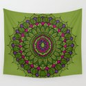 Bohemian Mandala in Green with Pink and Purple by laurabethlove