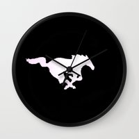 mustang Wall Clocks featuring Mustang  by Kristen Sea Illustrations/ ¥éttèr Pho