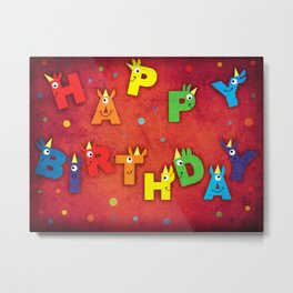 Happy Birthday Unicorn Metal Print