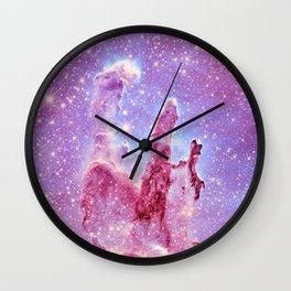 Galaxy nebula : Pillars of Creation lavender mauve periwinkle Wall Clock