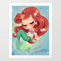 LITTLE BABY MERMAID DREAMS Art Print