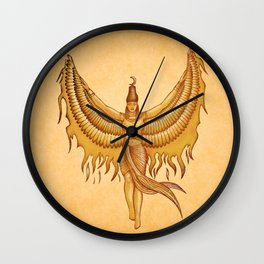 Isis, Goddess Egypt with wings of the legendary bird Phoenix Wall Clock