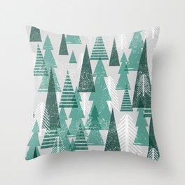 Festive Tree Pattern Throw Pillow