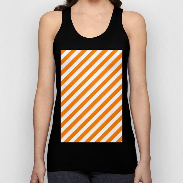 Diagonal Stripes (Orange/White) Unisex Tank Top