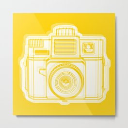 I Still Shoot Film Holga Logo - Reversed Yellow Metal Print