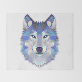 Colorful Wolf Throw Blanket