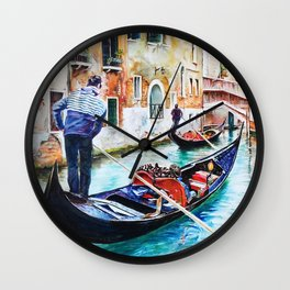 Gondolas on the Canals of Venice, Italy Wall Clock