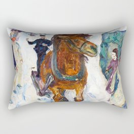 Galloping Horse by Edvard Munch Rectangular Pillow