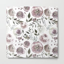 dusty rose floral watercolor Metal Print