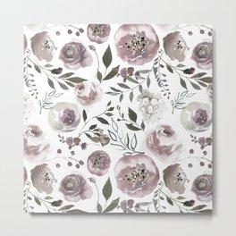 dusty rose floral watercolor Metal Print