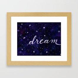 Watercolor galaxy dream - dark blue Framed Art Print