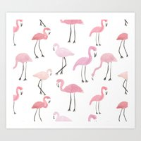 flamingos Art Prints featuring Flamingos by Abby Galloway