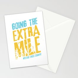 Awesome Cross Country Runners Running Extra Mile Stationery Cards