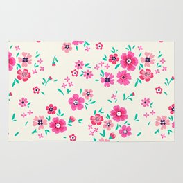 """Cute Floral pattern of small pink flowers. """"Ditsy print"""". Rug"""