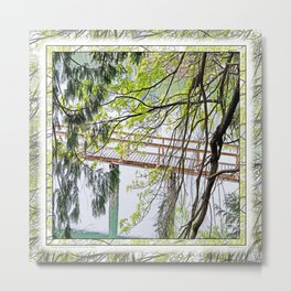 RAINY SPRING DAY AT THE DOCK IN THE WOODS Metal Print