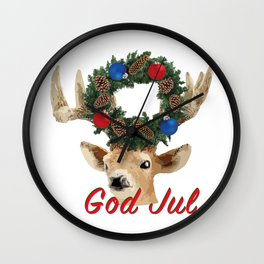 God Jul Deer with Christmas Wreath Wall Clock