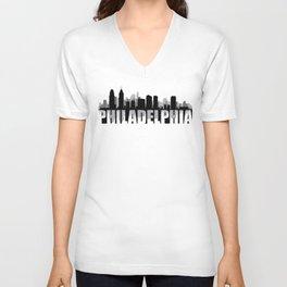 Philadelphia Silhouette Skyline Unisex V-Neck