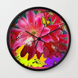 Delicate  Coral Pink Cacti Flower Tropical Art Wall Clock