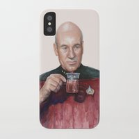 picard iPhone & iPod Cases featuring Tea. Earl Grey. Hot. Captain Picard Star Trek | Watercolor by Olechka