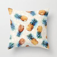 crystals Throw Pillows featuring Pineapples + Crystals  by micklyn